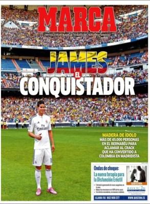 Portada Marca: James Rodríguez es presentado a la afición del Real Madrid