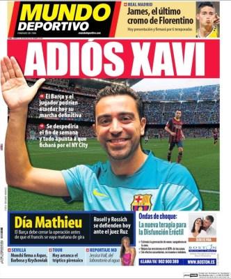 Portada Mundo Deportivo: Adiós Xavi
