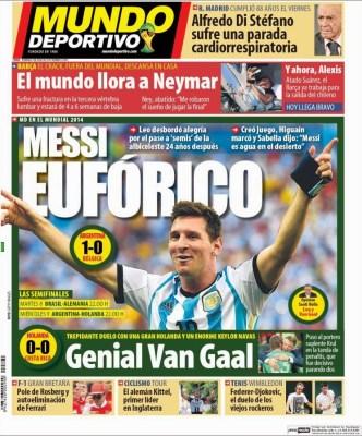 Argentina-Holada en semifinales, el mundo llora a Neymar: Las portadas