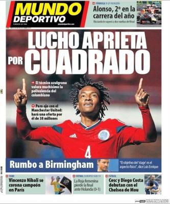 Portada Mundo Deportivo: Cuadrado