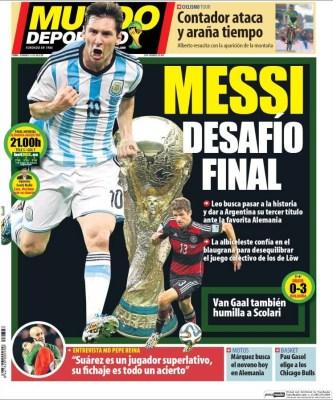 Portada Mundo Deportivo: Final del Mundial Brasil 2014 Alemania vs. Argentina