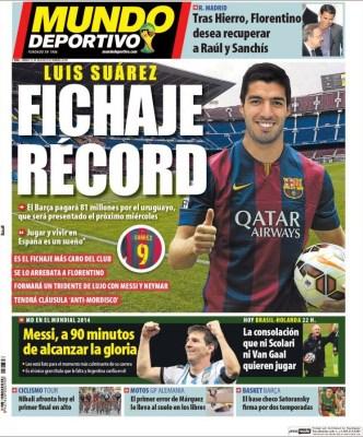 Portada Mundo Deportivo: Luis Suárez ficha por el F.C Barcelona