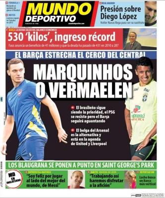 Portada Mundo Deportivo: pretemporada 2014-2015