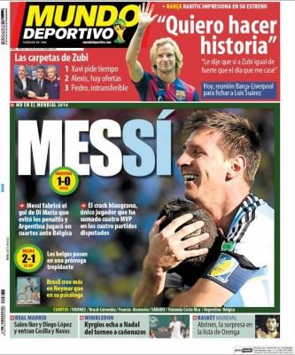 Portada Mundo Deportivo: Argentina 1-Suiza 0 Mundial Brasil 2014