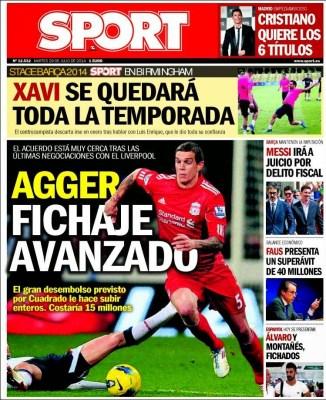 Portada Sport: Cristiano quiere los 6 títulos, Messi irá a juicio