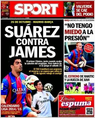 Portada Sport: Suárez vs. James