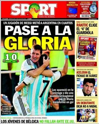 Portada Sport: Argentina 1-Suiza 0 Mundial Brasil 2014