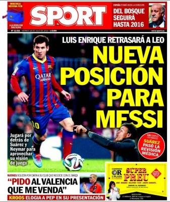 Portada Sport: nueva posición para Messi