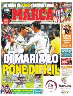 Portada Marca: El Madrid cae ante la Fiorentina en el debut de Keylor Navas