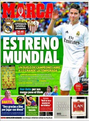 Portada Marca: Supercopa Real Madrid vs. Sevilla