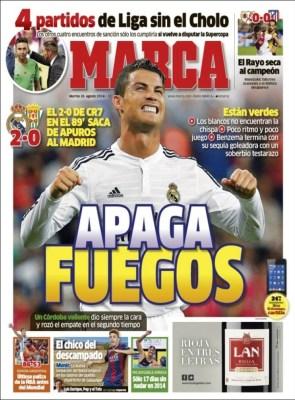 Portada Marca: El Real Madrid gana 2-0 en su debut ante el Córdoba