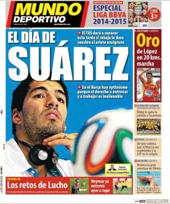 Portada Mundo Deportivo: el día de Luis Suárez