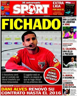 Portada Sport: Douglas ficha por el Barça
