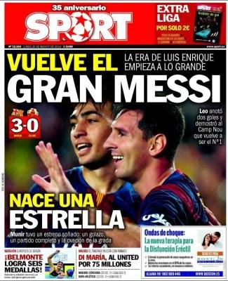 Portada Sport: doblete de Messi al Elche