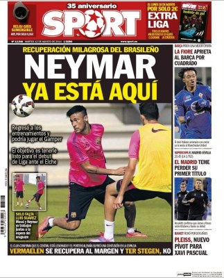 Portada Sport: Neymar se recupera