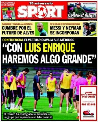Portada Sport: Con Luis Enrique haremos algo grande