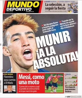 Portada Mundo Deportivo: Munir a la selección Española