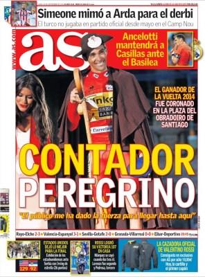 Portada AS: Contador gana la vuelta de España