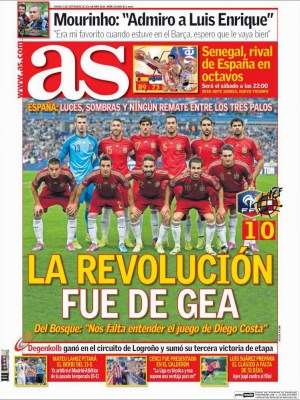 Portada AS: la roja debuta perdiendo ante Francia