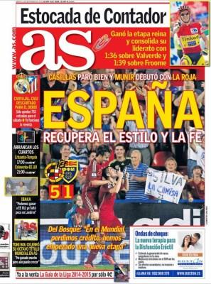 Portada AS: España golea a Macedonia