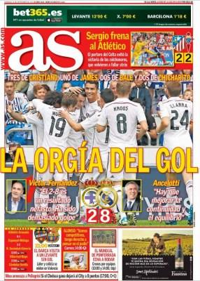 Portada AS: goleada histórica del Madrid al Depor 8-2 el equipo merengue humilla al equipo gallego