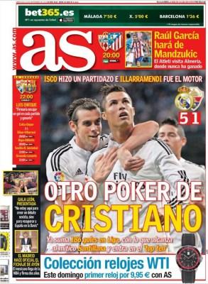 Portada AS: Poker de Cristiano Ronaldo