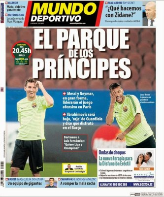 Portada Mundo Deportivo: PSG vs. FC Barcelona, Champions League
