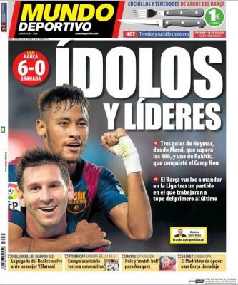 Portada Mundo Deportivo: el Barça golea al Granada