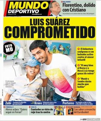 Portada Mundo: Luis Suárez solidario