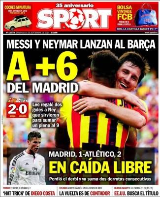 Portada Sport: Messi y Neymar figuras ante el Athletic