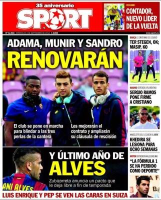 Portada Sport: Adama, Munir y Sandro