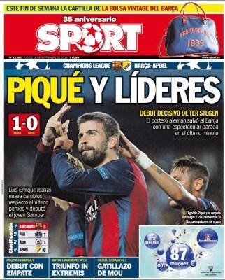 Portada Sport: Gerard Piqué