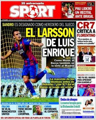 Portada Sport: el Barça está feliz con sus canteranos