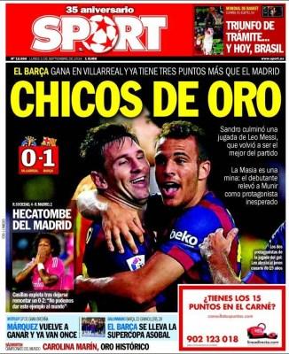 Portada Sport: Sandro da los tres puntos al Barça