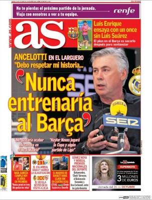 Portada Marca: Ancelotti dispara :'Nunca entrenaría al Barça' real madrid barcelona