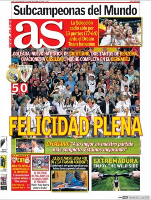 Portada AS: El Real Madrid golea 5-0 al Athletic
