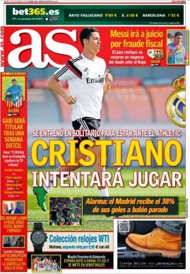 Portada AS: Cristiano entrena para estar ante el Athletic