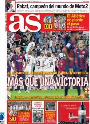 Portada AS: el Barcelona entra en depresión