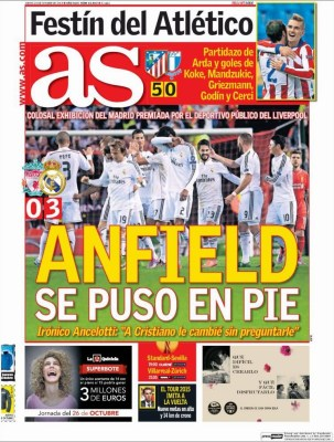 Portada AS: Anfield se rinde ante el Real Madrid liverpool
