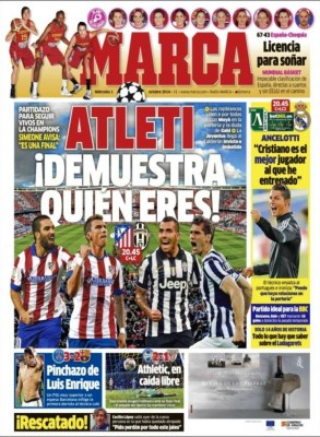 Portada Marca: Ludogorets vs. Madrid, Atlético vs. Juventus