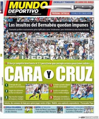 Portada Mundo Deportivo: Cara y Cruz del Barça