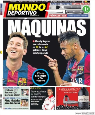 Portada Mundo Deportivo: Messi y Neymar máquinas