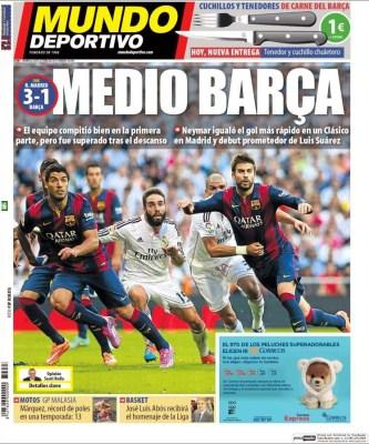 Portada Mundo Deportivo: Real Madrid 3-Barcelona 1. El clásico del 25/10/14