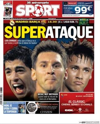 Portada Sport: el clásico Real Madrid vs. FC Barcelona octubre 2014