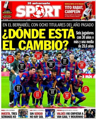Portada Sport: el Barça se hace viejo