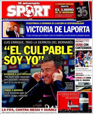 Portada Sport: Luis Enrique el culpable soy yo
