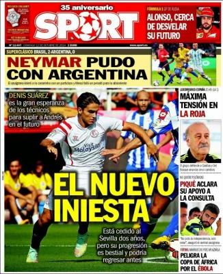 Portada Sport: el nuevo Iniesta denis suarez