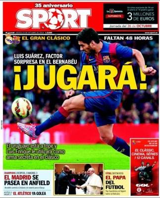 Portada Sport: Suárez jugará el clásico ante el Real Madrid