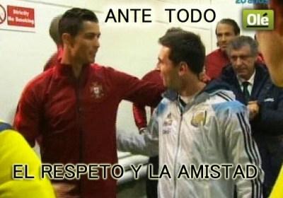 Los mejores memes de Argentina-Portugal. Amistoso internacional MESSI RONALDO AMISTAD
