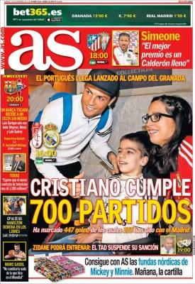 Portada AS: 700 partidos de Cristiano Ronaldo